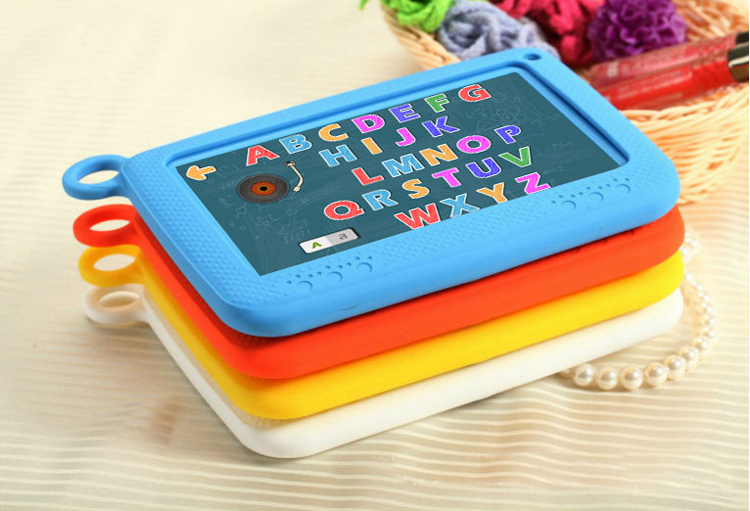 7 inch kid Tablet PC with built in learning APP and removable  colourful silicon rubber case